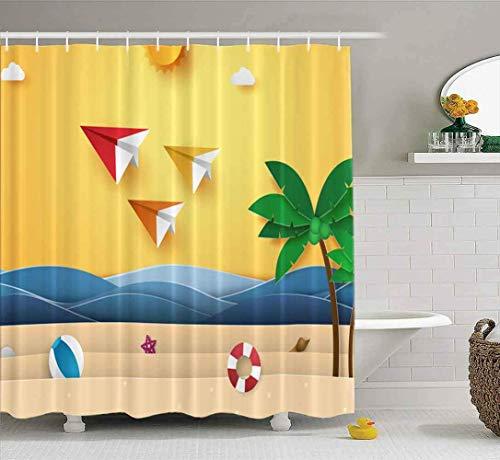 Cortina de ducha, linda cortina de ducha para bebé, horario de verano, coloridos aviones de origami volando en el cielo, playa, árbol de coco, juego de baño con ganchos, cortina de ducha de baño, cort