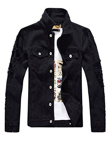 DSDZ Men`s Classic Ripped Hip Hop Motorcycle Denim Jacket (L (asian 3XL), Black)
