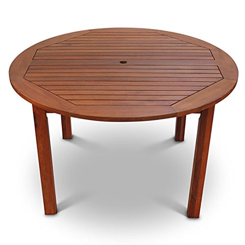 BrackenStyle Devon Hardwood Wooden Round Outdoor Dining Table To Seat 4 - Wood Garden Table 120 Centimeters Diameter