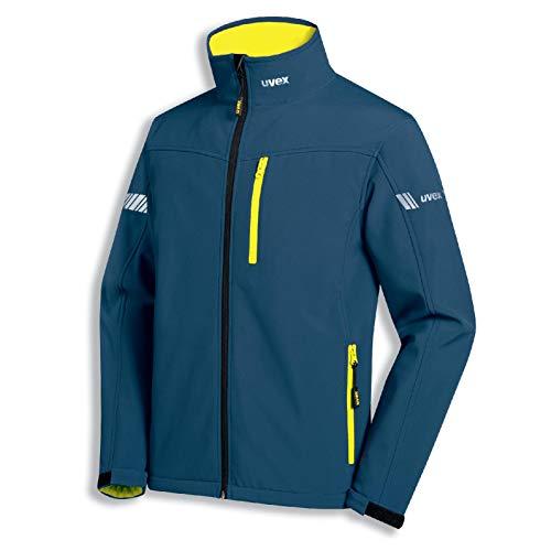 Uvex Metal Herren-Arbeitsjacke - Blau-Gelbe Männer-Softshelljacke - Atmungsaktiv - Wind- & Wasserdicht XS