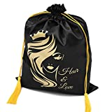 WEDAO 5 Pieces Silk Satin Bags with Drawstring 15x11 Inch - Wig Bags Storage for Multiple Wigs - Hair Packaging Bags for Bundles Hair Extensions & Tools Wholesale - Easy to Package and Use (Black)