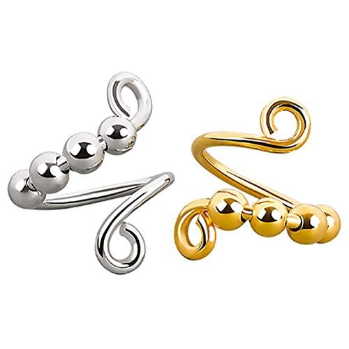 Allsmart Anillo de ansiedad para mujer, 2 unidades de anillo de dedo en espiral con cuentas giratorias, alivia el estrés anillo para mujeres y niñas