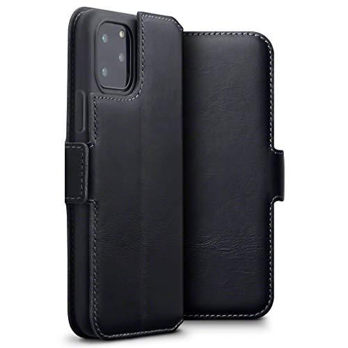 TERRAPIN, Kompatibel mit iPhone 11 Pro Hülle, Premium ECHT Spaltleder Flip Handyhülle iPhone 11 Pro Hülle Tasche Schutzhülle, Schwarz