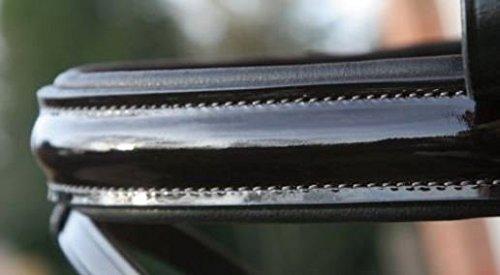 Hans Melzer Horse Equipment Reithalfter Hagen (Lack) schwedisch komb. schwarz unterlegt, schwarz/silber/schwarz unterlegt, Warmblut