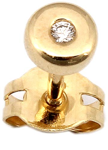 Herrenohrring Gold 585 Brillant 0.01 ct. Stecker Ohrring für Herren Ohrstecker