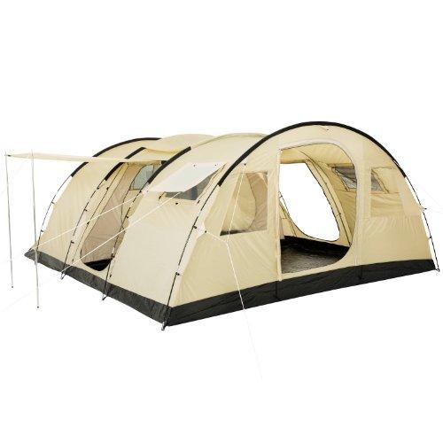 CampFeuer - XXL Tunnelzelt für 6 Personen mit großem Eingangsbreich, beige/Sand, 5000 mm Wassersäule