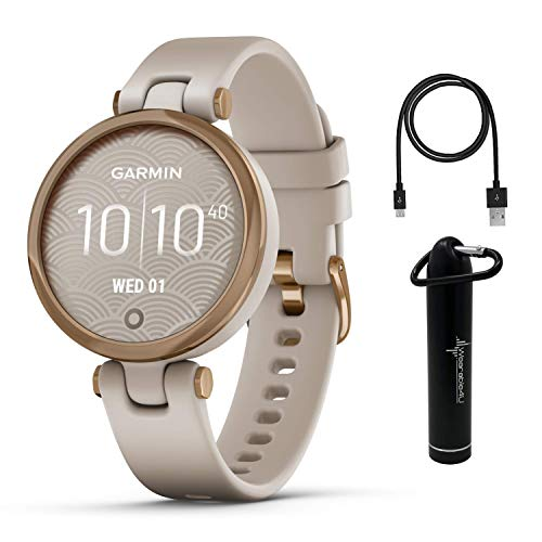 Garmin Lily Women's Fitness Sport Smartwatch with Wearable4U Power Bank Bundle (Rose Gold Bezel with Light Sand Silicone Band)