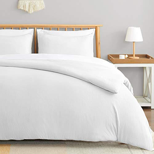 VEEYOO Jersey Knit Cotton Duvet Cover Set California King Size - Soft Easy Care Duvet Cover with Zipper Closure and Coner Ties Breathable 100% Jersey Cotton (White, 1 Duvet Cover 2 Pillowcases)