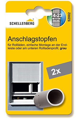 Schellenberg 52002 Rolladenstopper Anschlagstopfen für Rollladen, 2 Stück - Doppelpack, Grau, inkl. Schrauben