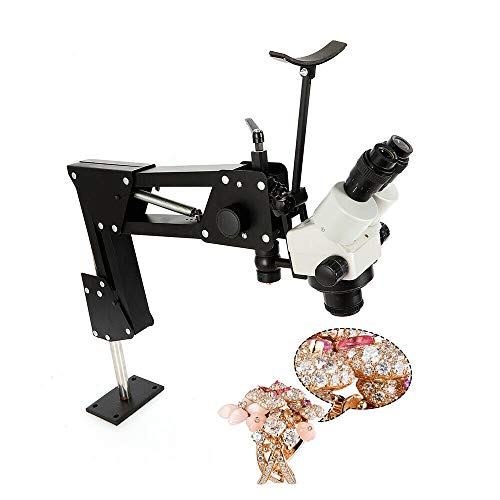 Microscope Jewelry Inlaid Stand, Multi-Directional Binocular Stereo Zoom 7X-45X Microscope Stand Micro-Setting Jewelry Tool 85mm Bracket Hole with Microscope - US Shipping