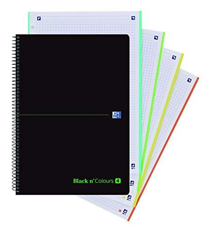 Oxford Black N'Colours - Cuaderno - 4 Agujeros, Tapa Plástico, 80 Hojas, A4, 5 x 5, Negro