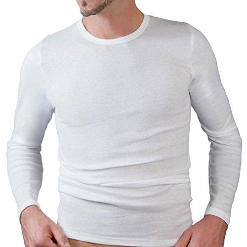 HERMKO 3640 2er Pack Herren Langarm Shirt (Weitere Farben) aus 100% Bio-Baumwolle, Größe:D 5 = EU M, Farbe:weiß