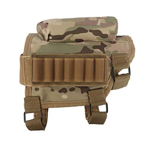 Tourbon Soporte para cartuchos de munición para rifle de caza de tiro, culata y mejilla, diseño de camuflaje