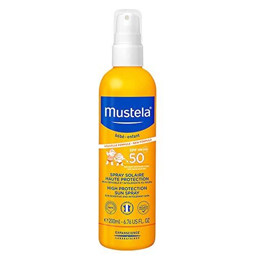MUSTELA Leche Solar Muy Alta protección SPF 50+ Tubo dosificador 200 ml, Negro, 200