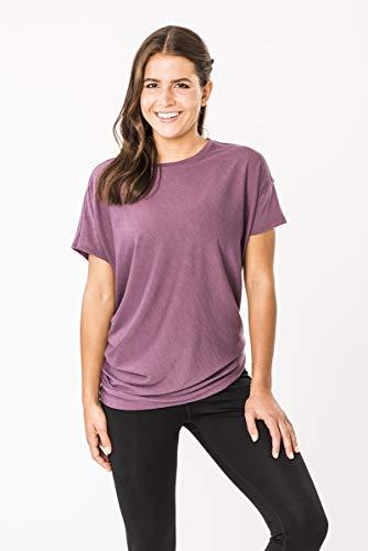 super.natural - Yoga-T-Shirts für Damen in Brombeer Meliert, Größe S