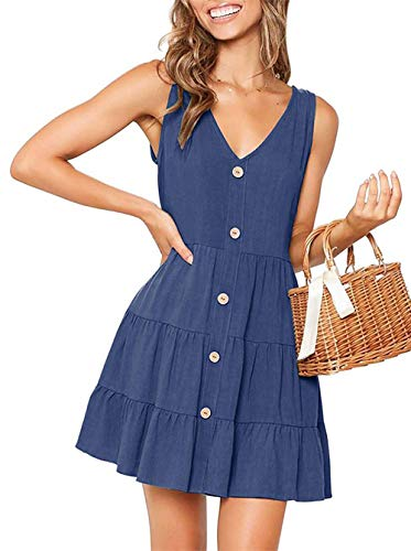OEUVRE Button Front Dress Summer Sleeveless V-Neck Fit and Flare Pleated Swing Dresses Navy XL