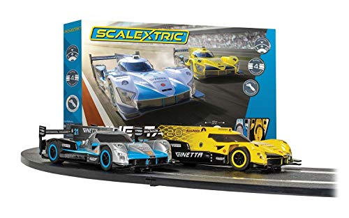 Scalextric Ginetta Racers 1:32 Analog Slot Car Race Track Set C1412T, Yellow, Silver & Blue