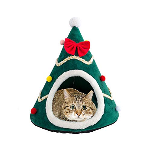 Pet cave bed,Pet House Cat Dog Small Animal Cosy Nest, Hanging Foldable Non slip Warm Pets Hideout Cave, Cushion Washable Tent Cage Rabbit Hamster Winter Xmas Gift