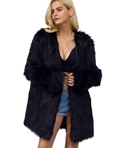 Bontjack dames herfst winter thermische bontjas mode merk casual cardigan hipster trendy normale lak lange mouwen synthetisch bont jas mantel