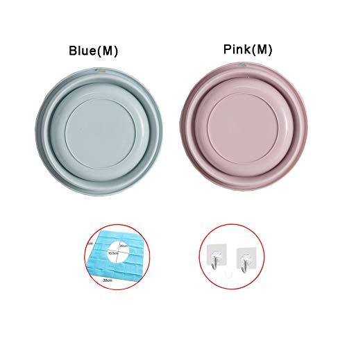QWET Hopfällbar tvättbänk, flerfunktionell hopfällbar rund tvätt skål handfat för utomhus resor camping vandring (2 st) Pink_M+Blue_M