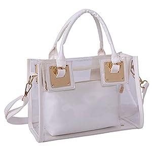 Rullar Lot de 2petits sacs fourre-tout transparents en PVC avec anse, blanc, Taille unique, Sacs fourre-tout