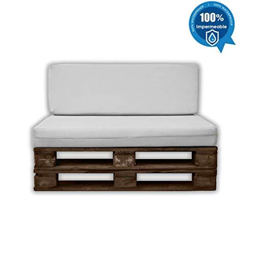 MICAMAMELLAMA Pack Asiento + Respaldo para Sofá de Palet Exterior e Interior - Funda Náutica Blanca - Espuma HR Alta Densidad - Grosor 12cm