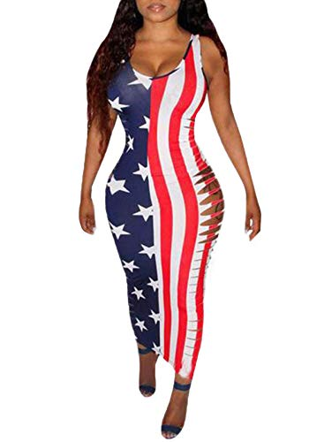 CORAFRITZ Vestido largo sexy con estampado de bandera americana para mujer, sin mangas, cuello redondo, agujeros rasgados, bodycon