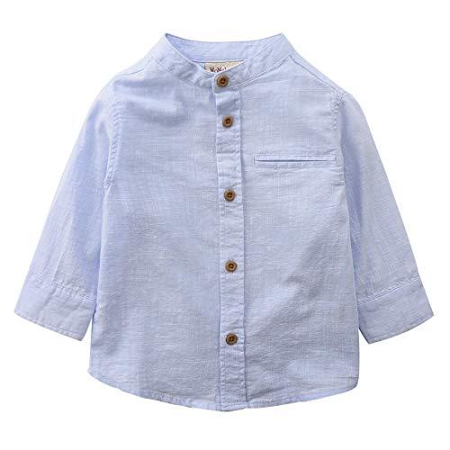 MOMOLAND Little Big Boys Long Sleeve Mandarin Collar Woven Cotton Button Down Linen Design Shirt Solid