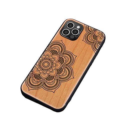 KAINUO Funda iPhone 12 Pro Funda De Madera,Ultra Slim Silky Touch Feel Carcasa Grado Militar Anti-CaíDa ProteccióN,para iPhone 12 Pro(iPhone 12 Pro, Brahma Flower)