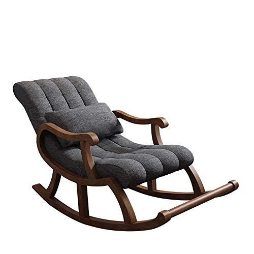 Luie stoel Nordic Rubber Wood Multi-layer massief houten Rocking Chair, Vrije tijd Massage Ontspanning Stoel, Ouderen Nap Leisure stoel, geschikt for balkon Woonkamer Tuin (comfortabel Flanel Fabric)
