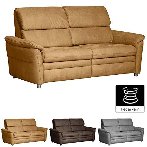 Cavadore 3-Sitzer Chalsay / mit Federkern / modernes Sofa / Größe: 179 x 94 x 92 cm (BxHxT) / Farbe: Hellbraun (mustard)