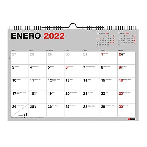 Miquelrius - Calendario Pared 2021-2022 - 18 meses (Julio 2021 - Diciembre 2022), Tamaño A3 42 x 29,6 cm, Basic