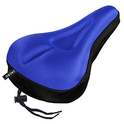 Zacro Gel Bike Seat, Extra Soft Bicycle Seat, Saddle Cushion with Black Water and Dust Resistant Cover, Blue