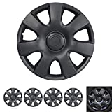 """Wheel Guards – (4 Pack) Hubcaps Car Accessories Wheel Covers Snap Clip-On Auto Tire Rim Replacement for 15 inch Wheels 15"""" Hub Caps (Classic Matte Black)"""