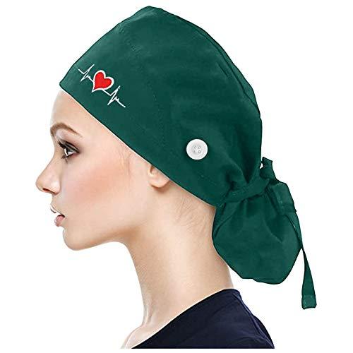 AIchenYW Schrubben Kappe mit Knöpfen Bedruckte Füllig Turban Hut Verstellbare Füllig Haarabdeckung Unisex Doktor Kappe mit Schweißband für Schönheit Arbeiterin Körperpflege Bedarf