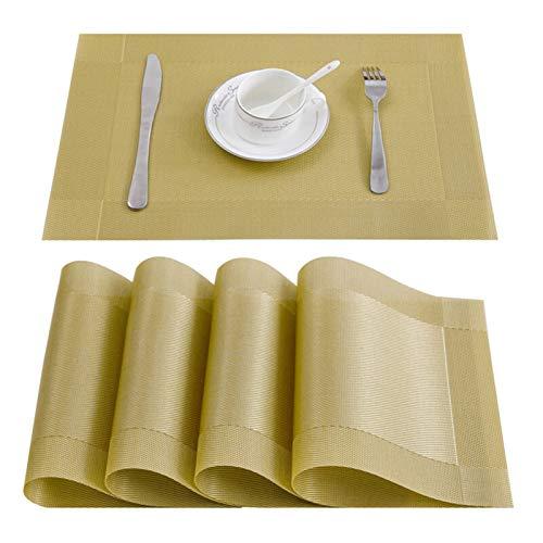 WUCHENG 4/6/8 PC-Tischsets zum Essensplatz Matte waschbar PVC in Küchenzubehör Geschirr Tasse Weinmatte rutschfeste PVC-Pad schwarz braun Tischsets (Color : Gold A, Size : Set of 8)