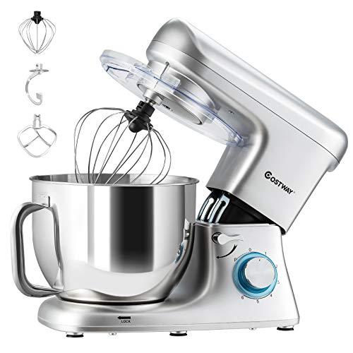 COSTWAY 1400W Küchenmaschine mit Griff, 7L Rührmaschine, Knetmaschine Edelstahl, 6 stufen Teigmaschine inkl. Schneebesen, Knethaken, Rührbesen und Spritzschutz (Silber)