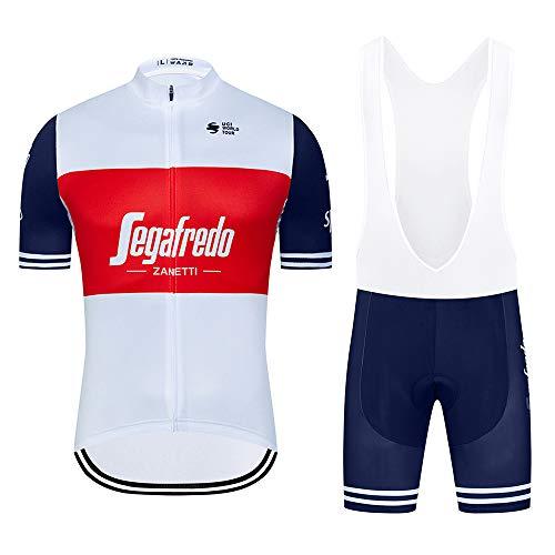 Completo Abbigliamento Ciclismo Uomo Maglie Ciclismo Estivo Manica Corta e Pantaloncini Imbottiti Completi Ciclismo Squadre Uomo
