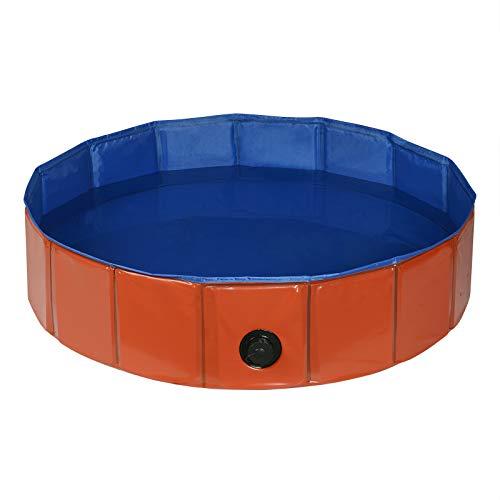 EUGAD 0003GYYC Hundepool, Hunde Swimmingpool Planschbecken Haustier Schwimmbad Badewanne Für Hunde Katzen Faltbares Doggy Pool Katzenpool, Rot+blau 80x20cm