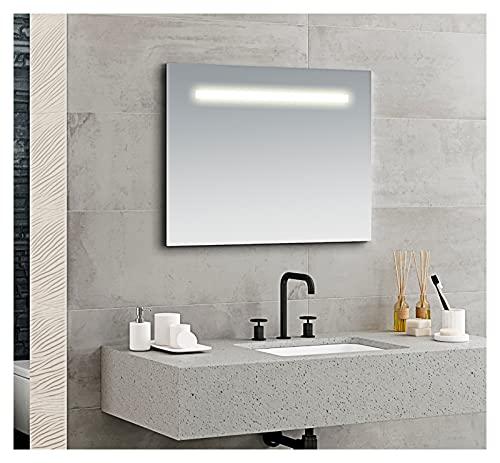 Espejo de Baño Luz Led Roma 100x80 Horizontal con lámina antivaho, con colgadores incluidos de fácil instalación. Espejo a Pared con Luz...