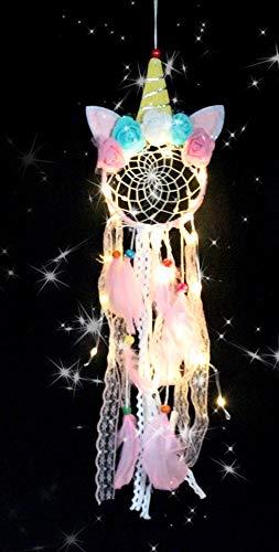 ButerDem Atrapasueños de unicornio para niños y niñas, LED, hecho a mano, plumas y flores, atrapasueños, para guardería, dormitorio, decoración, regalo, tejido a mano (rosa)