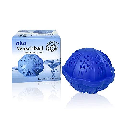 WSM Öko Waschkugel 9x10cm - Umweltfreundlicher Waschball für Waschmaschine - Hautfreundlicher Wäscheball Allergiker geeignet - Waschmittel Kugel (1000 Anwendungen)