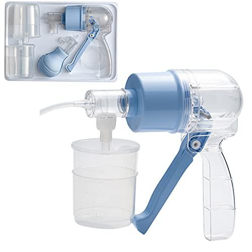 BILXXY Dispositivo de succión de esputo Manual con 2 Bombas, Dispositivo de succión de esputo Manual portátil, Tubo de oxígeno obstructivo sin esputo para Ancianos