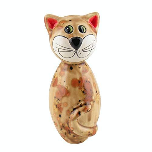 Tangoo Keramik Katze Mini Hellbraun Effektglasur mit schwarzen und dunkelbraunen Sprenkeln