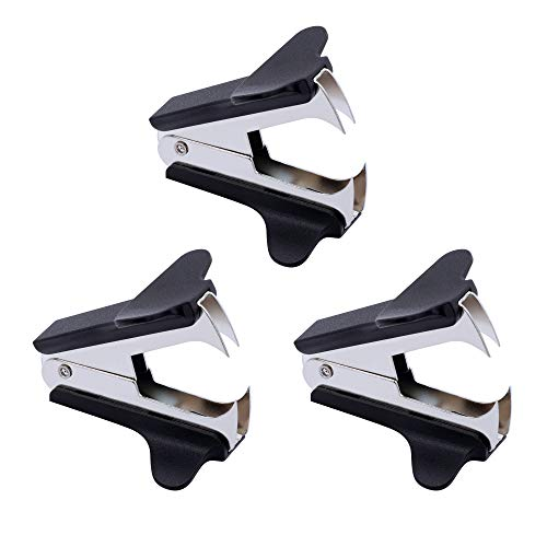 Jevou 3 PCS Staple Remover Professional Staple Remover Tool Rubberized Stapler Removal Tool with Steel Jaws for School Office Home, Black