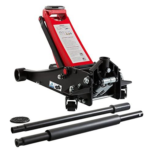 Arebos Gato hidráulico de maniobra 3 T | Plano - 75-505mm | Doble pistón | 2 Soportes