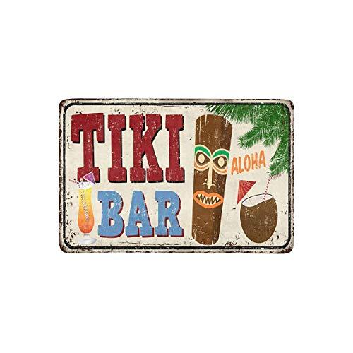 LVOE TTL Hawaiian Tiki Bar Vintage rostigen Metallschild mit Cocktails Fußmatte rutschfeste Indoor und Outdoor Fußmatte Teppich Home Decor, Eingang Teppich Fußmatten Gummi Rücken, 23,6 X 15,8 Zoll