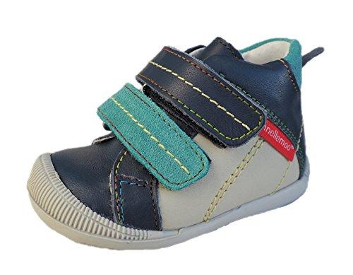 ennellemoo® -Baby-Kinder-Mädchen-echt Leder-Boots-Schuhe-Sneaker-Lauflernschuhe-Halbschuhe-Klettverschluss, weiche knöchelhohe Schuhe-Premium-LUXUSSCHUHE – Vollleder (20, blau/grün)