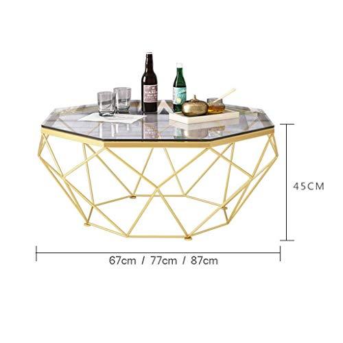 Mesa de centro sencilla Tablas elegante mesa de centro Sofá Mesita de luz lateral, marco Octagon vidrio templado del metal del oro del diseño geométrico, for la decoración de la sala escritorio del or