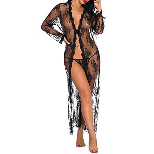 Mujeres Sexy Erotic Lace Transparente Lencería Larga Kimono Robe Babydoll Camisón Cover Up Dress, See Through Open Front Valentine's Day Ropa de Dormir Traje de baño